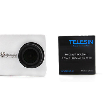 TELESIN 2pcs 3.85V 1400mAh Li-ion Battery with Dual Charger for Xiaomi Yi 4K Sport Camera