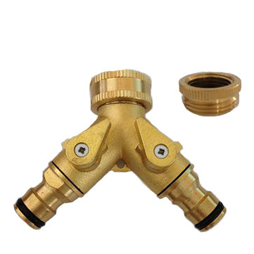 Copper 2-Outlet Water Pipe Connector for 3/4 1/2 Connector Valve Convertor Garden Tool Sets