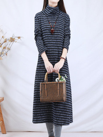 Casual Women Full Sleeve Turtleneck Striped Dress