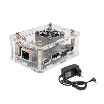 4-in-1 Orange Pi One 512MB H3 Quad-core Development Board + Acrylic Case + Cooling Fan Heat Sink + 5V 3A EU Standard Power Adapter Kit