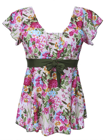 Women Plus Size Floral Printed Two-Piece Swimwear Flouncing Sleeve Swimsuit Sets