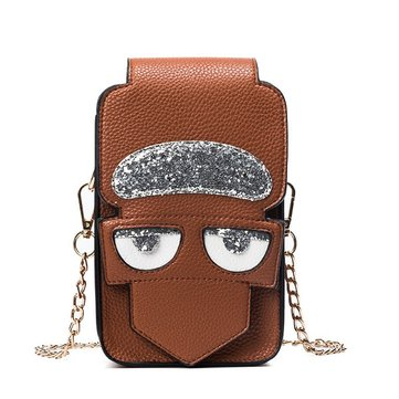 Women PU Leather Funny Devil Cute Phone Bag Shoulder Bag Crossbody Bag