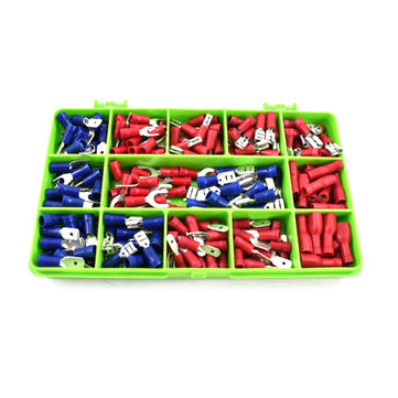 140Pcs 15 Squares Assorted Insulated Electrical Wire Terminal Crimp Cable Connector Spades Kit