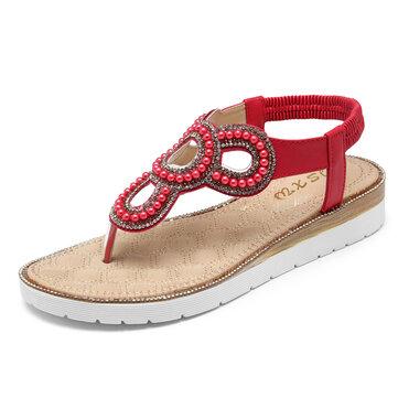 Bohemian Rhinestone Bead Casual Flat Sandals