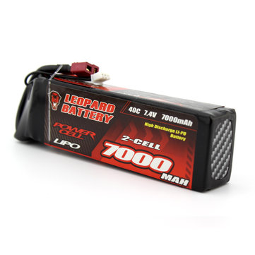 LEOPARD Power 7.4V 6000mAh 40C 2S T Plug Lipo Battery for 1:8 1:10 RC Car
