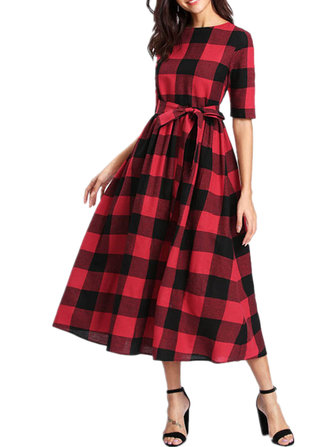 Women Short Sleeve Plaid Belt Long A-line Shirt Dress