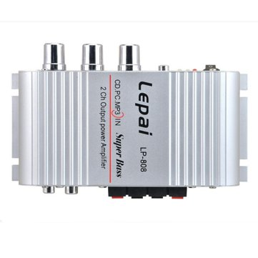 Lepy LP-808 Silver 12V Amplifier Mini Hi-Fi Stereo Audio Amplifier