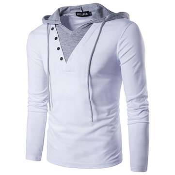 Spring Casual Hoodie T-shirts Fashion Mens Fake Two Long Sleeved Sports T-shirts