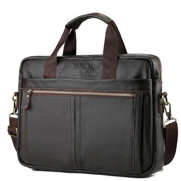 Men PU Leather Business Bag Travel Handbag Outdoor Waterproof Shoulder Bag 14 Inch Laptop Tote