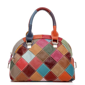 Women Patchwork Genuine Leather Crossbody Bag Handbag
