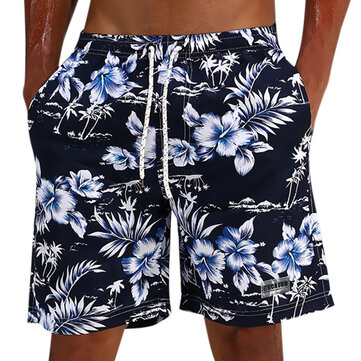 ESCATCH Summer Hawaiian Thin Loose Quick Dry Knee Length Flower Printing Board Short for Men