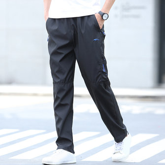 Men's Spring Summer Sports Pants Elastic Waist Straight Casual Loose Trousers