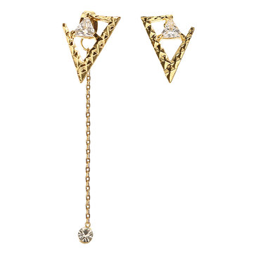 JASSY® Luxury Women Gemstone Earrings 18K Gold Plated Asymmetric Triangle Ear Stud Unique Gift