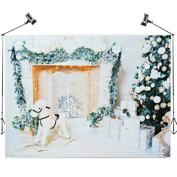 7x5FT White Room Christmas Tree Gift Wooden Horse Photography Backdrop Studio Prop Background