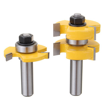 2pcs 1/2 Inch Shank Tongue and Groove Router Bit Set Woodworking Cutter Tenon Cutter
