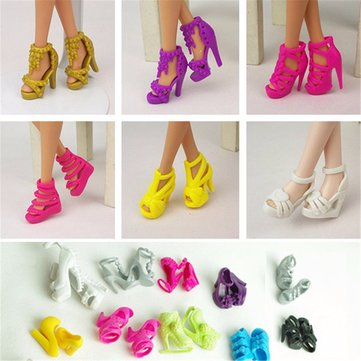 10 Pairs Fashion Dolls Heels Shoes Sandals For Barbie Doll Toy