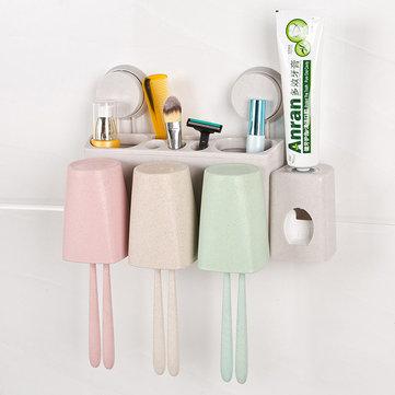 ห้องอาบน้ำ อุปกรณ์ล้างฟางข้าวสาลีล้างอเนกประสงค์ชุดยาสีฟันที่ใส่แก้วแปรงสีฟัน