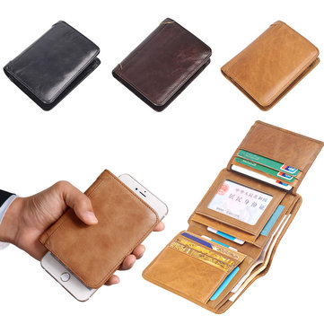 Men's 3 Folding Genuine Leather Wallet Short Vertical Billfold ID Credit Card Holder