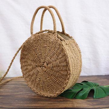 Round Rattan Straw Bohemia Style Beach Circle Beach Bags