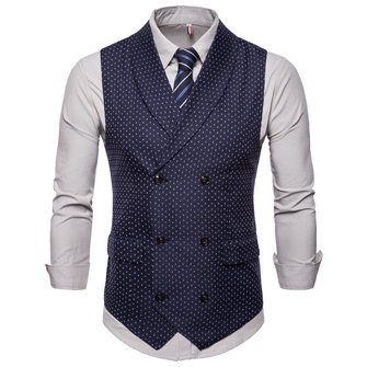 Fashion Business Dots Printing Waistcoat Suit Vest for Men