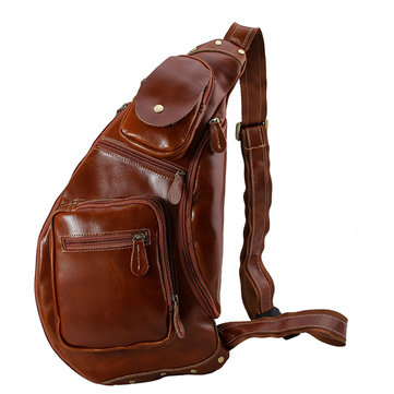Men Top Leather Vintage Large Capacity Chest Pack Crossbody Bag
