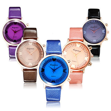 Fashion Elegant Butterflies pattern PU Leather Band Quartz Women Wrist Watch