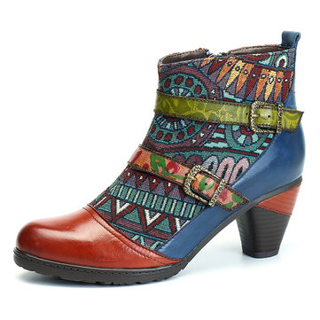 SOCOFY Bohemian Splicing Pattern Block Buckle Ankle Leather Boots