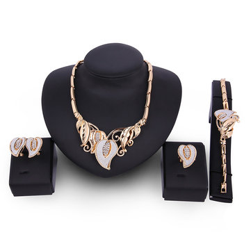 Leaf Rhinestone Gold Plated Necklace Earrings Ring Bracelet Jewelry Set