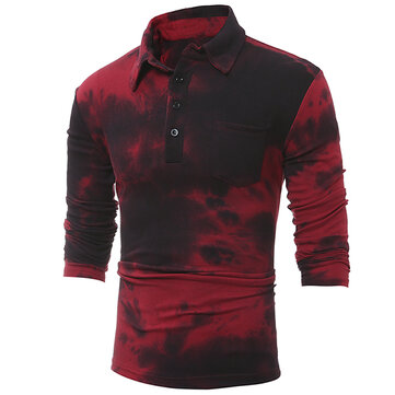 Long Sleeve Printed Wine Red Casual Slim Shirt Long Sleeve T-Shirt For Men