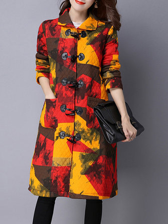 Casual Women Long Sleeve Color Block Horn Button Coat