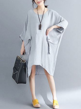 Women Batwing Sleeves Cotton Linen Mini Dress