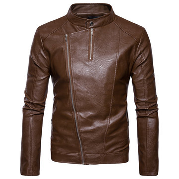 Buy Personalized Diagonal Zipper Design Stand Collar Faux Leather PU Jacket for Men for $83.39 in Banggood store