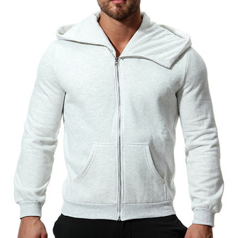 Winter Hooded Zipper Long Sleeve Solid Color Casual Hoodie