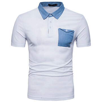 Men's Fashion Cowboy Mixed Color Lapel Golf T-shirt