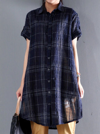 Women Short Sleeve Cotton Linen Plaid Blouse