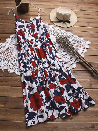 Women Bohemian Floral Print Straps Long Dress