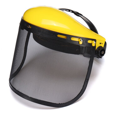 Yellow Safety Helmet Full Face Mask Chainsaw Brushcutte Mesh For Lawn Mower Trimmer Brush Cutter