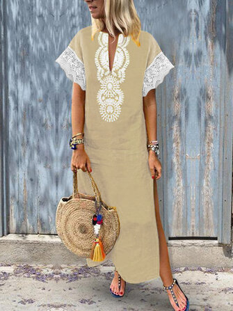 Women Lace Patchwork Short Sleeve V-Neck Baggy Boho Split Hem Maxi Dress