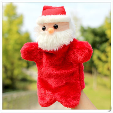Creative Christmas Santa Claus Gloves Dolls Puppet Plush Toys Role Play Dolls for Children