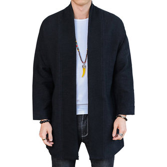 Men Casual National Mid Long Sweater Cardigans