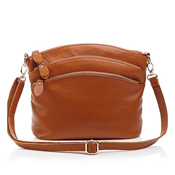 Women Genuine Leather Shoulder Bag Multi Pocket Travel Crossboby Bag