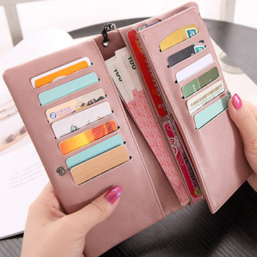 Women PU Leather Card Holder Long Wallet Purse