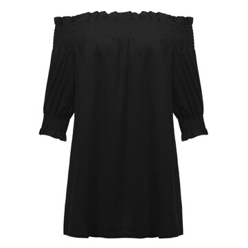 Loose Women Off Shoulder Half Sleeve Ruffle Chiffon T-Shirt