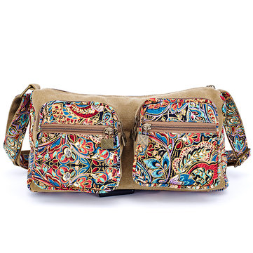 Brenice Women Vintage National Style Floral Canvas Casual Crossbody Shoulder Bag
