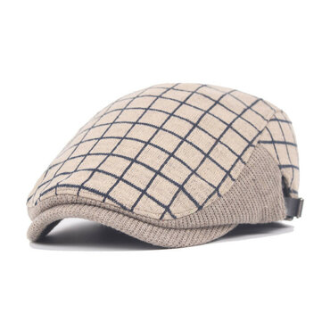 Unisex Cotton Grid Blank Pattern Beret Hat Belt Buckle Adjustable Paper Boy Cabbie Gentleman Cap