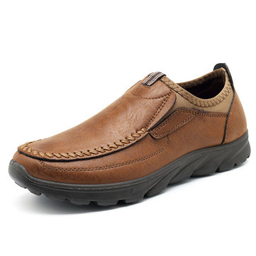 Men Microfiber Leather Slip On Oxfords
