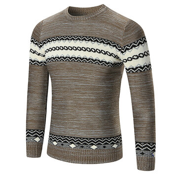 Autumn Winter Men's Fashion Stitching Color Sweater Casual Knitted Printed Round Neck Sweater