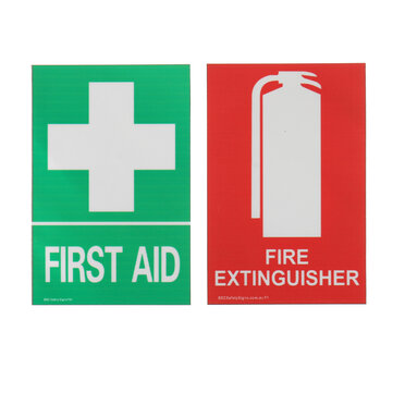 100x66mm First Aid Fire Extinguisher PVC Sticker Sign Decal Set OHS WHS