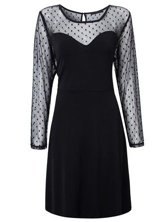 Sexy Black Polka Dot Mesh Patchwork Women A-line Dress