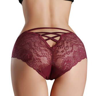 Mid Waist Criss Cross Panties Hollow Lace Underwear